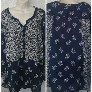 Lucky Brand Navy Blue White Top Tunic Size 3X